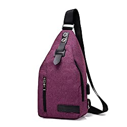 Pjiulog Convenient, Casual, Canvas, Outdoor Men's Shoulder Bag Messenger Bag Travel Hiking Rechargeable Backpack,pink