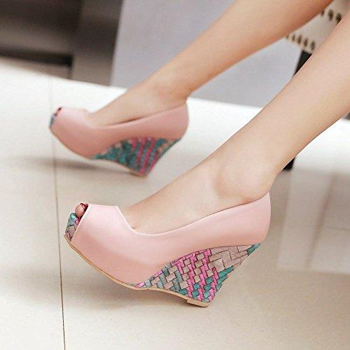 Mee Shoes Damen Peep toe Keilabsatz Plateau Pumps Pink