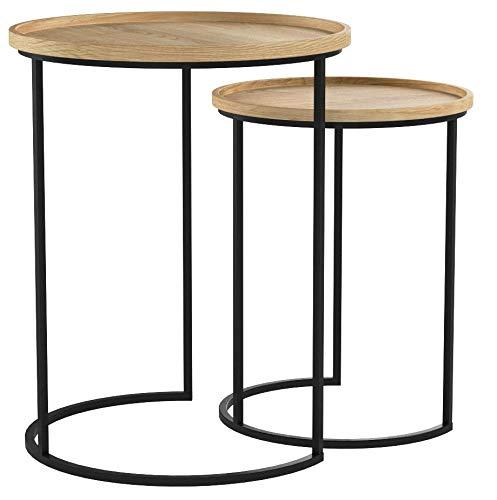 Tavolini Da Salotto Impilabili.Lifa Living Tavolini Da Salotto Impilabili Set Da 2 Tavolini Sovrapponibili In Legno E Metallo Tavolini Da Caffe Rotondi Tavolini A Incastro Stile