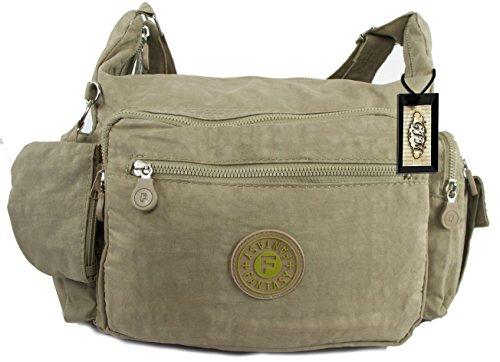 Da donna GFM resistente misura media multiuso Tessuto in Nylon borsa a tracolla .Style 3 - Light Brown (HLKEK05)