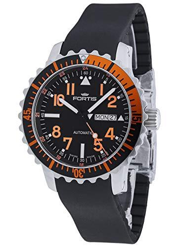 Fortis Hombre Reloj de Pulsera aquatis Marino Master Day/Date Naranja Fecha Día de la Semana analógico automático 670.19.49K