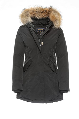 BASIC.de Damen-Parka Echtfell Winter-Jacke Schwarz S