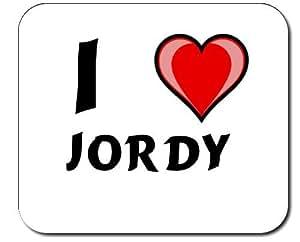 Tapis de souris décoré avec première Nom/prénom/surnom I Love Jordy