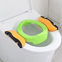2 in 1 Baby Travel Potty Chair,Colleer Portabale Kids Toilet Seat Assistant Toddler Multifunctional Eco-Friend Stool (Green)