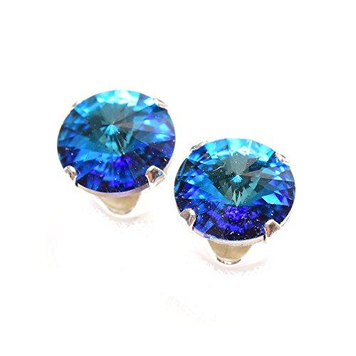– 925Sterling Silver Handmade Stud Earrings with Sparkling Crystal Bermuda Blue Swarovski Crystal