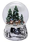 Minium Collection 20093 Schneekugel Romantische Kutschfahrt Winter & Weihnacht Silber-Sockel Landschaft mit Spieluhr We Wish You a Merry Christmas Durchmesser 100mm