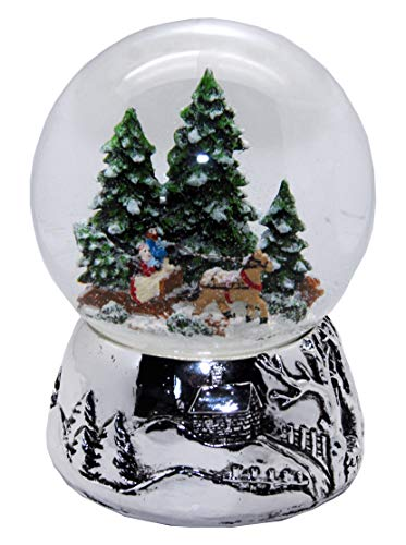 Minium Collection 20093 Schneekugel Romantische Kutschfahrt Winter & Weihnacht Silber-Sockel...