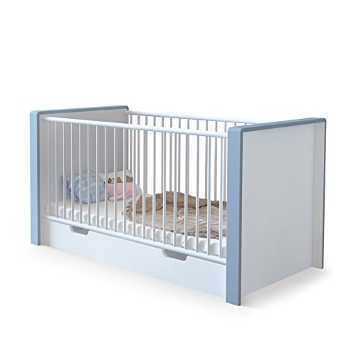 Baby Cot Bed Nandini with underbed drawer, Carcass in White matt, Skirtings in Denim matt Vladon