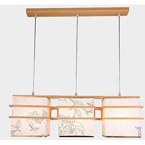 FWEF Candelabros De Madera De Madera De Tres Lámparas Restaurante Impresión De Piel De Oveja Iluminación Moderna Barra Sólida