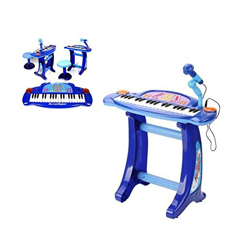 Children Recording Karaoke Electronic Keyboard Piano With Stool For Boys Or Girls Lights And Sounds Children�s Mega Music Station With 36 Keys And 32 Functions Comes With Microphone, Mic Stand, Stool HTUK� (Blue)