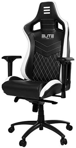 ELITE Premium Gaming Chair Honor - Bürostuhl - LED Beleuchtung - Kunstleder - Ergonomisch - Racer - Drehstuhl - Stuhl - Chefsessel - Schreibtischstuhl (Schwarz/Weiß)