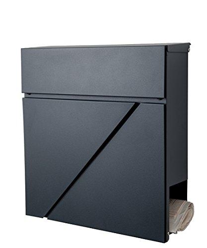 Designer Briefkasten / Mailbox / Modell 555-A / anthrazit RAL7016 mit Zeitungsfach / NUR 1 x VERSANDKOSTEN FÜR ALLE BESTELLUNGEN ZUSAMMEN !