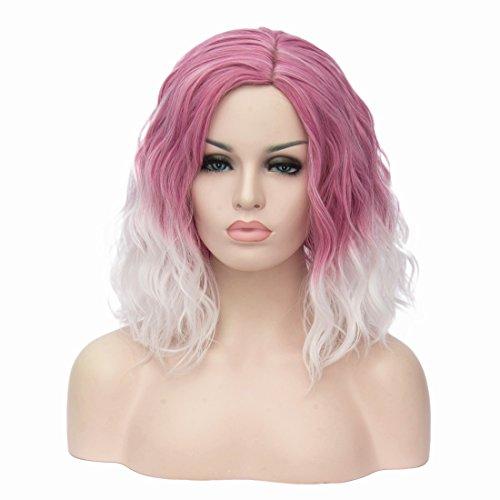 Milrüme Kurze Rosa Perücken für Frauen Lockiges Wellenförmiges Kunsthaar Cosplay Halloween Perücken mit Perückenhaube (Rosa/Weiß)...