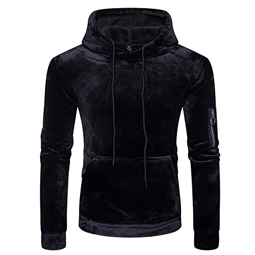 IMJONO Herrenkleidung Men Velvet Blend Pullover Hoodie Basic Hooded Sweatshirt Zipper Outwear(XX-Large,Schwarz)