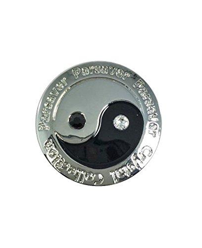 Parsaver Swarovski-Kristall-Golf-Ball-Marker - mit Hut Belt Clip - Design Deluxe Ying-Yang - Balance Harmonie Gute böse - unvergleichliche Brillanz und Glanz auf den Grüns -