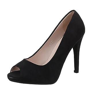 Damen Schuhe, L-11, PUMPS, HIGH HEELS PEEPTOE, Synthetik in hochwertiger Wildlederoptik , Schwarz, Gr 36