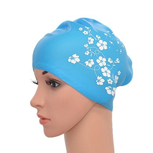medifier Frauen Damen Elastische Silikon Wasser Pool schwimmen Hat Cap Ohr Wrap Hat für langes Haar Erwachsene Sakura Kunstdruck (Sky Blau)