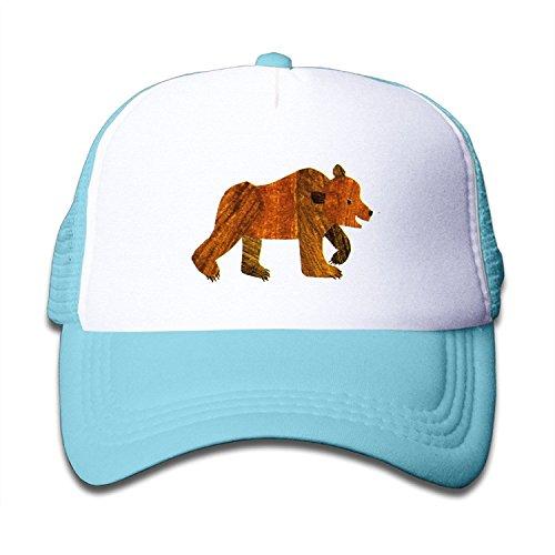 Descubrimiento Wild jóvenes de bebé Kid 's deportes al aire libre malla sombrero con ajustable Gorra correa–marrón oso–negro