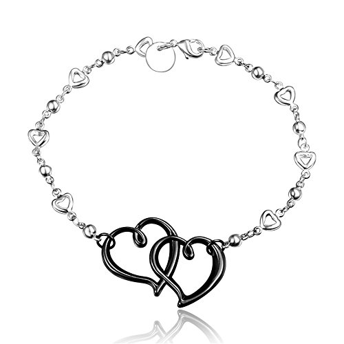 AmberMa Black Eternal Love Double Heart Charm Pendant Bracelet Sterling Silver plated Fashion Women Girls