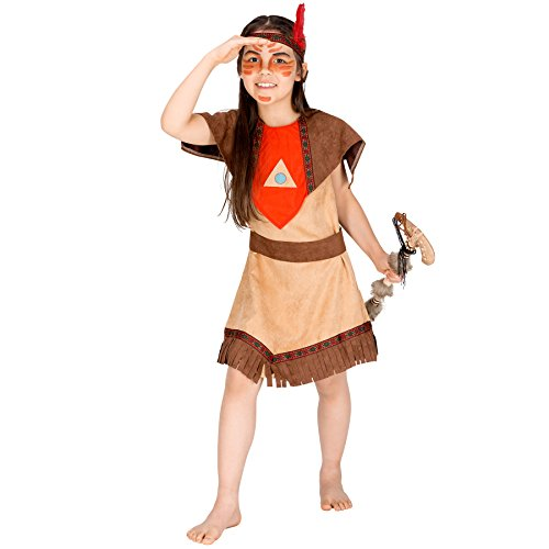 Mädchenkostüm Indianerin | Wundervolles Kleid mit Franzenborte | inkl. Bindegrtel + Haarband mit Federn (3-5 Jahre | Nr. 300578)