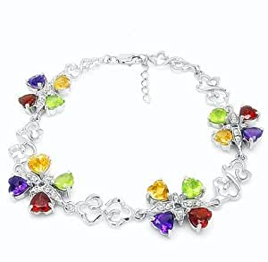 100% Genuine Nature Garnet Amethyst Peridot Citrine 18K White Gold Plated 925 Sterling Silver Bracelet Fine Jewelry
