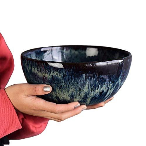 Steinzeug Pfauenmuster Salatschüssel Obstschale Kreative große Nudelschüssel Suppenschüssel Waschschüssel Vintage Besteck 20,3 cm Durchmesser 10 cm Höhe Gastronomie Küche Schalen