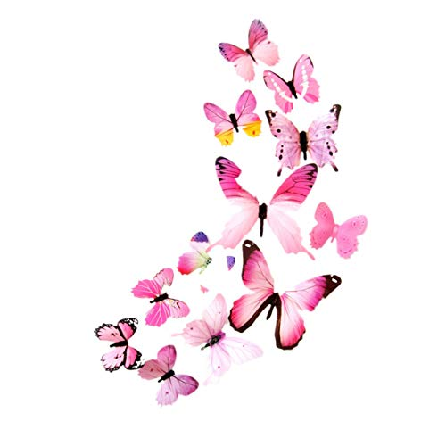 Floweworld 12 StüCke Schmetterling Wandaufkleber Aufkleber Wandaufkleber Home Dekorationen 3D Schmetterling Bunte Aufkleber Dekoration (Stoff Alligator Haarspangen)