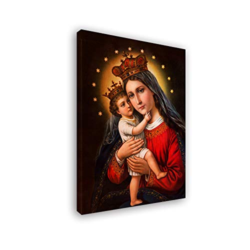 Fajerminart LED Luz Cuadros Lienzos, Genial Bendita Virgen María Pintura Arte, Impresiones En Lienzo LED Pintura Adecuado Sala Estar/Dormitorio, Tamaño:40x60cm(Marco De Madera)(Barra De Luz LED)