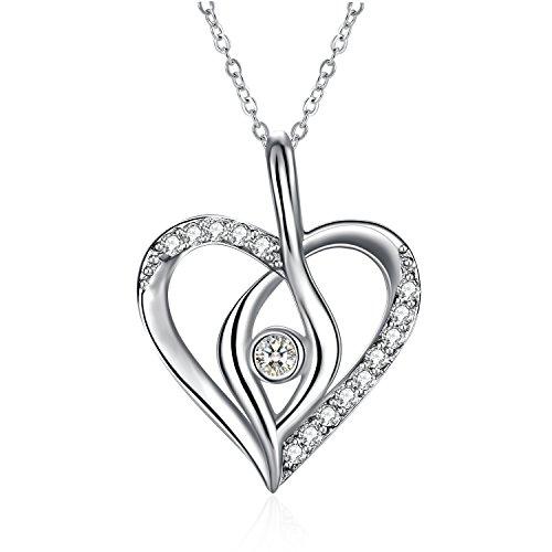 """Regalo para Dia de Madre Collar Mujer, ZHULERY Plata de Ley 925 Brillante Circonita """"Amor simple"""" Collar 45+5cm Embalaje de caja de regalo El mejor regalo"""
