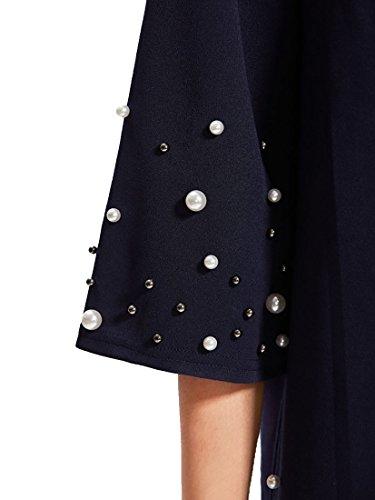 ROMWE Damen Lockeres Kleid mit Perlen Hundhals Halbarm Tunikakleid Partykleid Marineblau