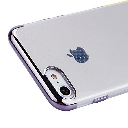 Etsue Custodia iPhone 7 Plus Trasparente,Colorate Dipinto Modello Con Disegni,iPhone 7 Plus Cover in Silicone Tpu Flessible Sottile Antiscivolo e Antigraffio Protettivo Cover Bumper Case Per iPhone 7  Trasparente,Grigio Scuro