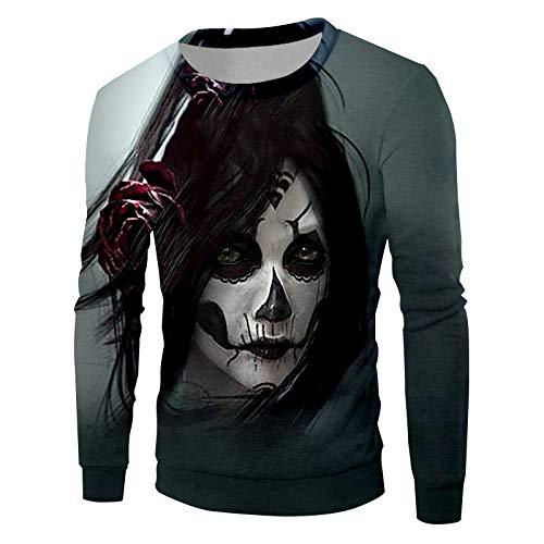 ckten Trend Maske Clown Pullover Schwarz Weiß Und Lange Haare Menschlichen Gesicht Mann Groß Sweatshirt 5XL ()