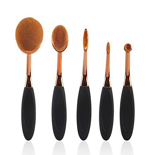 Karidesh Multi-Function Foundation Brush Brosse de Maquillage de Haute qualité 5 Jeux de brosses à Dents Brosse (Color : Black)