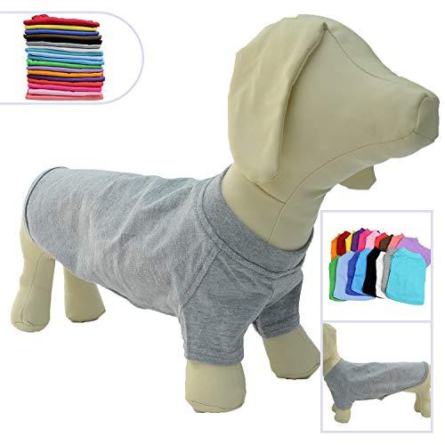 lovelonglong Hund T-Shirt Party Kostüm Atmungsaktive Baumwolle Einfarbig Kurzarm T-Shirt für Der Dachhund Dackel Hund Corgi. Gray D-L