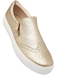 Tresmode Women's Gold Synthetic Leather Loafers (201849329)- 4 UK