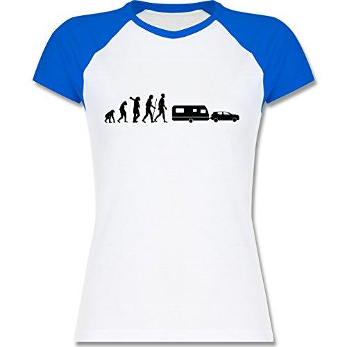 Shirtracer Evolution - Evolution Camper Wohnwagen - Zweifarbiges Baseballshirt/Raglan T-Shirt für Damen Weiß/Royalblau
