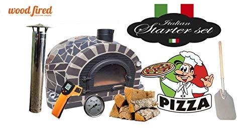 Pro-Deluxe Grey Ceramic Cast Door Wood Fired Pizza Oven Starter Kit 100Cm
