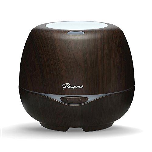 Aroma Essential Oil Diffuser 300ml, Paxamo Aromatherapie Ultraschall Luftbefeuchter mit 7 Farben LED Lichter Ätherischesöl Öl Düfte Diffusor Kalten Nebel Humidifier für Wohn-,Bade-,Schlaf-,Büro,Yoga (Dark Wood)