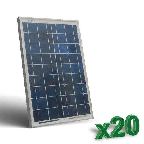 Conjunto de 20 Placa Solar Fotovoltaico 20W Total 400W Policristalino Placa Solar Fotovoltaico 20W en silicio policristalino, ideal para abastecer a campistas, barcos, cabañas, casas de campo, sistemas de videovigilancia, puentes de radio, etc.  Car...