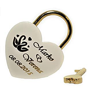 Personalised Engraved New Heart Lock White/Gold Large 60 x 45 mm Padlock