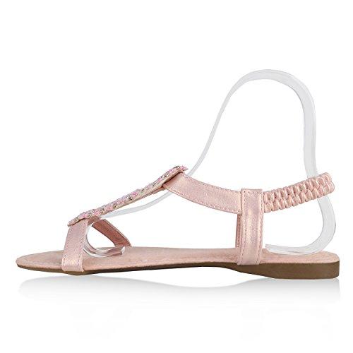 Damen Sandalen Flats Nieten Glitzer Riemchensandalen Extravagante Party Schuhe Hochzeit Abiball Rosa Rosa