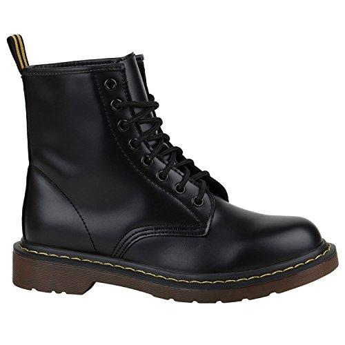 Damen Stiefeletten Worker Boots Lack Profilsohle Boots Schuhe 150331 Schwarz Brito 38 Flandell