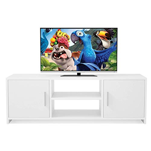 Homfa Meuble TV Bois Blanc avec Portes et Etageres Meuble TV Bas Scandinave Meuble Television Bas 110x35x36cm (Blanche)
