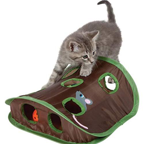 Underleaf Maus Jagd Katzenspielzeug mit Bell-Ball und Maus Spielzeug, Spielen Verstecken & suchen Spiel Übung Katzenspielzeug mit Maus und Ball