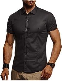 LEIF NELSON Herren Hemd Kurzarm Slim Fit Kurzarmhemd Sommerhemd  Freizeithemd Kurzarm Business Freizeit Party LN3520 b2cdba8f9c