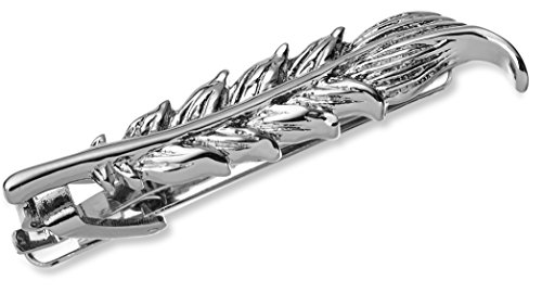 Krawattenclip, 4,8cm, silberne Ausführung, inklusive Geschenkbox, verschiedene Größen und Designs, 1.9 Inch Feather, One Size