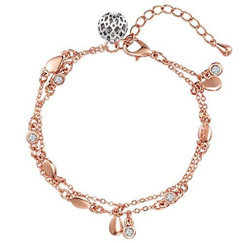 Lulu & Jane Damen-Armband rosévergoldet verziert mit Kristallen von Swarovski weiß 18 + 4 cm - Armband Roségold Bettelarmband Kristall Armband