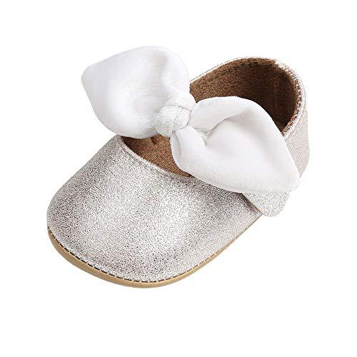 LACOFIA Baby Mädchen Ballerina Kleinkind Bowknot Prinzessin Schuhe Baby Rutschfeste Krabbelschuhe Silber 3-6 Monate