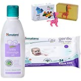 Himalaya Herbals Baby Massage Oil (200ml)+Himalaya Herbals Gentle Baby Wipes (24 Sheets) With Happy Baby Luxurious Kids Soap With Toy (100gm)