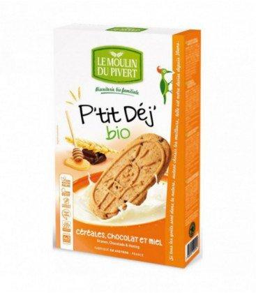Le Moulin Du Pivert - Biscuits P'tit Déj' Bio Céréales, Chocolat & Miel - 190 g - 12 biscuits